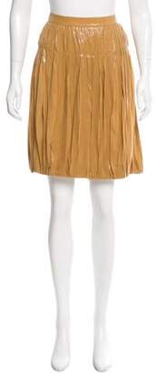 Alberta Ferretti Coated Pleat-Accented Skirt w/ Tags