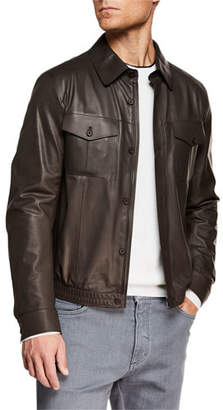 Ermenegildo Zegna Men's Ultra Light Leather Shirt Jacket