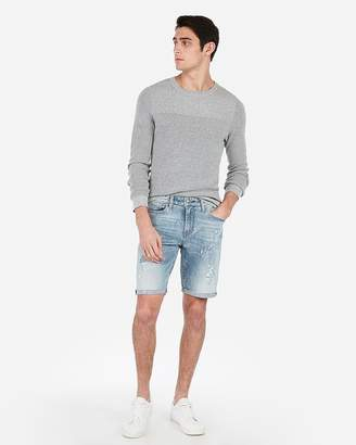 Express Slim 9 Inch Light Wash Destroyed Stretch Denim Shorts