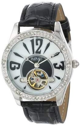August Steiner Women's AS8034BK Crystal Skeleton Strap Watch
