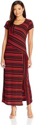NY Collection Women's Petite Size Printed Cap Sleeve Maxi Dress