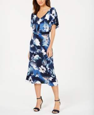 Connected Printed Overlay A-Line Dress