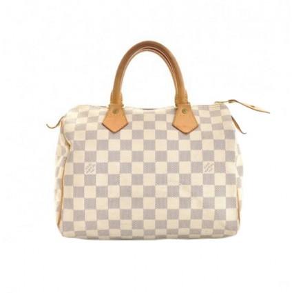 Louis Vuitton very good (VG Speedy 25 White Damier Azur Canvas Handbag
