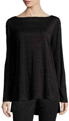 Eileen Fisher Bateau-Neck Organic Linen Jersey Top