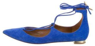 Aquazzura Pointed-Toe Lace-Up Flats