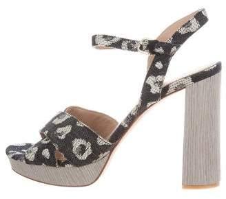 Pour La Victoire Denim Animal Pattern Sandals