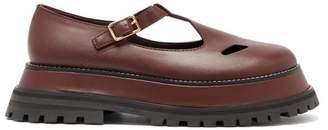 Burberry Aldwych Flatform Leather Dolly Loafers - Womens - Burgundy
