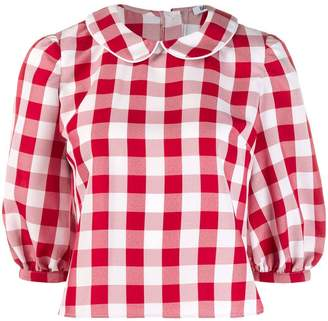 Batsheva gingham check cropped blouse