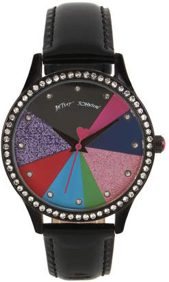 Betsey Johnson Multi-Colored Pie Chart Dial & Black Strap Watch 39mm