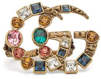 Gucci Crystal Embellished Gg Logo Double Ring - Womens - Multi