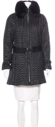 Post Card Quilted Fur Coat