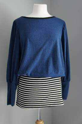 No Name Solid-Sweater-Top Striped Mini