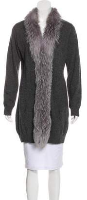 Neiman Marcus Fur-Trimmed Cashmere Cardigan