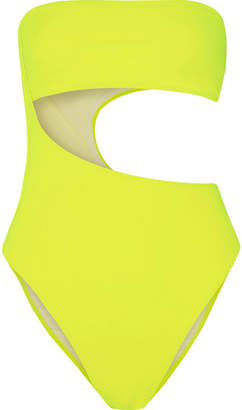 Stella McCartney Neon Cutout Bandeau Swimsuit - Bright yellow