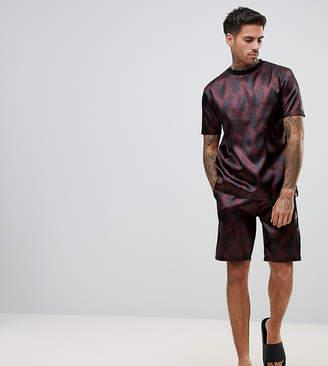 Asos Pajama Set In Satin With Paisley Print