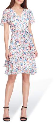Tahari Floral Chiffon Faux Wrap Dress