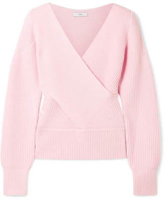 Tome Wrap-effect Cutout Ribbed Merino Wool Sweater - Baby pink