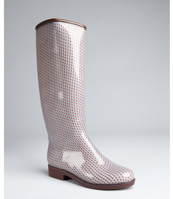 dav periwinkle and brown houndstooth rubber tall rain boots
