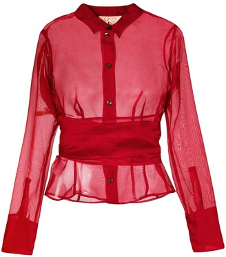 Romeo Gigli Pre-Owned belted sheer shirt