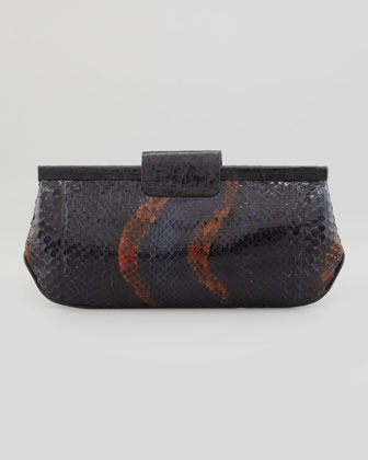 Nancy Gonzalez Slim Python Frame Clutch Bag, Purple