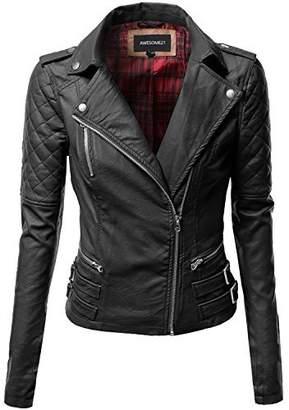 Moto Awesome21 Classic Biker Jacket Black Size L