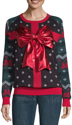 City Streets Long Sleeve Round Neck Holiday Pullover Sweater-Juniors