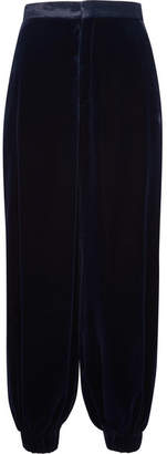 Gucci Velvet Tapered Pants - Navy