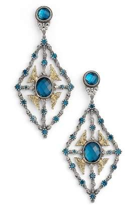 Konstantino 'Thalassa' Blue Topaz Kite Chandelier Earrings