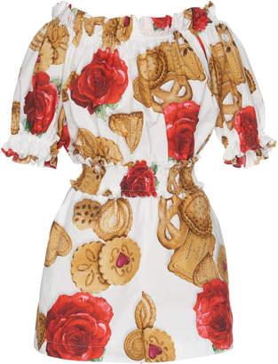 Dolce & Gabbana Biscotti Printed Cotton Romper