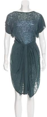 Isabel Marant Ãtoile Pleated Knee-Length Dress Teal Ãtoile Pleated Knee-Length Dress