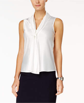 Nine West Sleeveless Tie-Front Blouse