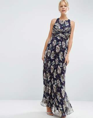 Asos Design Bridesmaid Pleated Maxi Dress With Ruched Detail In Vintage Floral Print