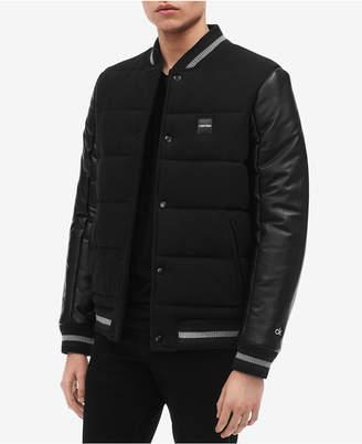 Calvin Klein Men's Mix-Media Varsity Jacket