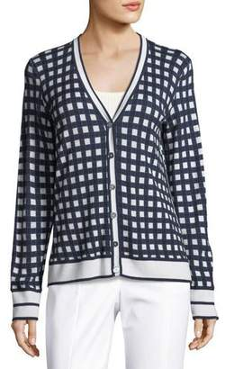 St. John Gingham-Knit Long-Sleeve Cardigan