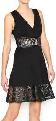 Mystic Faux Leather Applique Dress