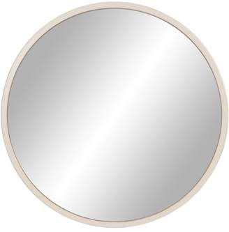 """Patton Wall Decor 30"""" Distressed White Metal Framed Round Wall Mirror"""