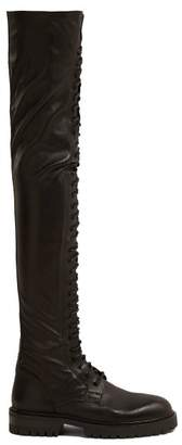 Ann Demeulemeester Over The Knee Leather Boots - Womens - Black