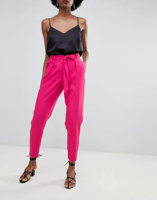 Oasis tapered pants with tie waist in bright pink