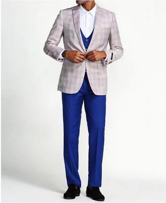 Men Slim Fit Plaid Jacket 3-Piece Suit