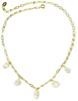 Taolei 18K Yellow Gold Plated 6mm x 9mm Freshwater Pearl Drop Necklace