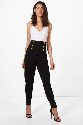 boohoo Button Front Skinny Trouser