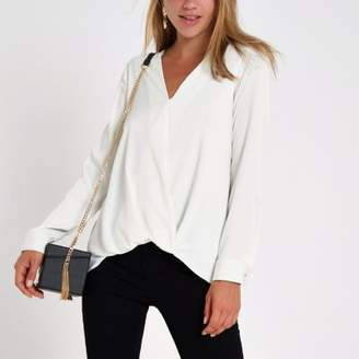 River Island Cream wrap tuck front long sleeve blouse