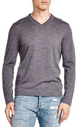 The Kooples Leather Trim Merino Wool V-Neck Sweater $265 thestylecure.com