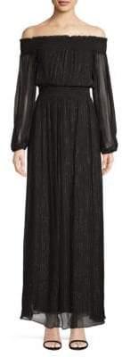BCBGMAXAZRIA Smocked Off-The-Shoulder Long Dress