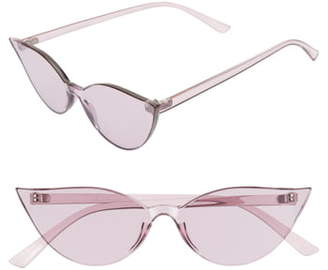Cat Eye Glance Eyewear 64mm Oversize Transparent Sunglasses