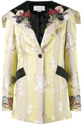 Gucci floral applique jacquard jacket