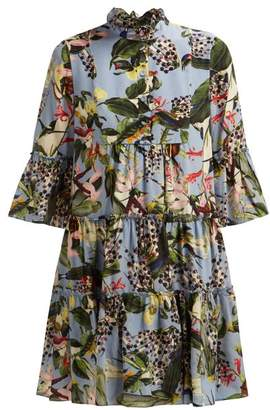 Erdem Wyn Fassett Dream Print Silk Mini Dress - Womens - Blue Multi