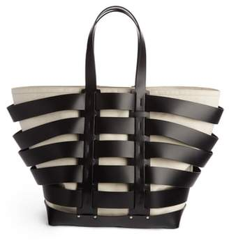 Paco Rabanne Cage Leather & Canvas Tote