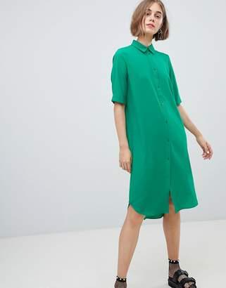 Monki oversized midi shirt dress in green