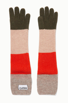 Ganni Striped Wool-blend Gloves - Cream
